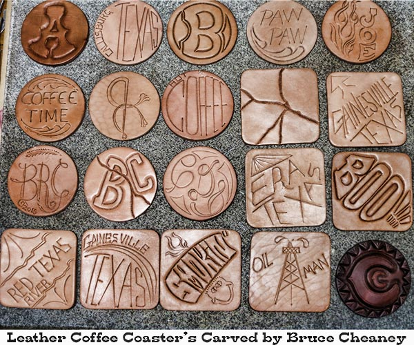 Leather coffee coasters